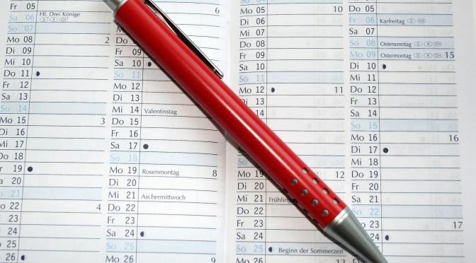 terminkalender mit rotstift